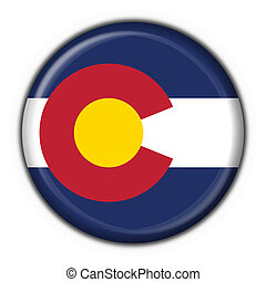 Colorado (USA State) button flag round shape - 3d made
