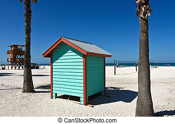 Colorful Beach Bath House - A colorful beach bath house on...
