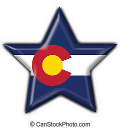 Colorado (USA State) button flag star shape - 3d made