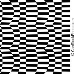 Repeatable distorted pattern with rectangles, black and...