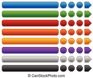 Set of rectangle, circle, starburst buttons, banners and arrows. 8 colors included.