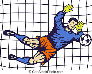 Soccer football goalie keeper saving a goal with net in...