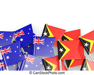 Flags of Australia and East Timor isolated on white 3D...