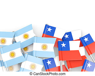 Flags of Argentina and Chile isolated on white 3D...