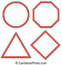 Set of roadsigns. Circle, octagon (stop sign), triangle and...