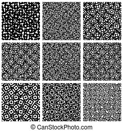 Set of 9 pattern with random, irregular shapes.