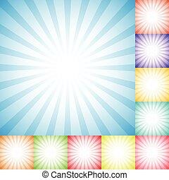Sunburst, starburst pattern set in 10 colors - Radial, converging lines, stripes empty backgrounds