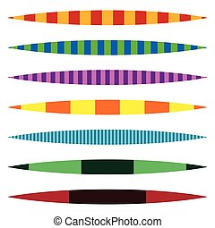 Horizontal line dividers Set of colorful duotone straight...