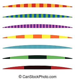 Horizontal line dividers. Set of colorful (duotone) straight line design elements