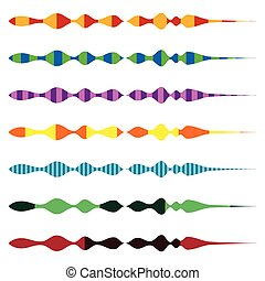 Horizontal line dividers. Set of colorful (duotone) straight...