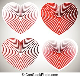 Bright heart element with outlines in radial fashion