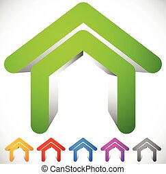 3D house icon in six colors. Home, suburban house, residential building icon / logo