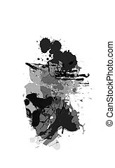 Set of ink blots in black and white