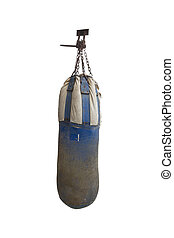 Old Sandbag Boxing on white background with clipping paths