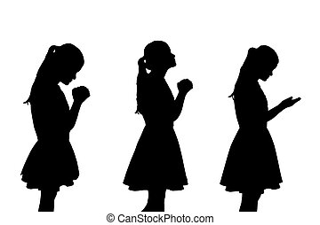 silhouette of woman pray with white background