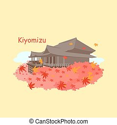 Japan Kiyomizu or Kiyomizu-dera temple at Kyoto and maple in...