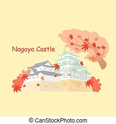 Japan nagoya castle and maple in autumn
