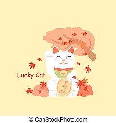 Japanese lucky cat MANEKI NEKO and maple in th autumn