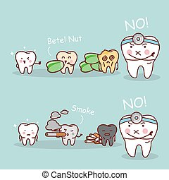 tooth betel nut and smoke - cartoon tooth and dentist black...