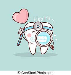 Happy cartoon tooth and dentist take toothbrush and...