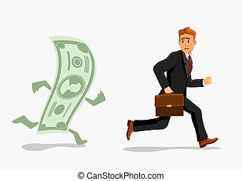 Businessman escaping dollar, running from banknote -...
