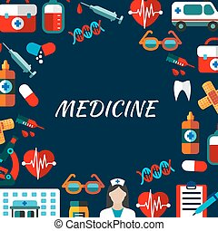 Medicine poster with flat icons