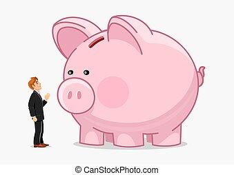 Businessman with big piggybank. Money saving