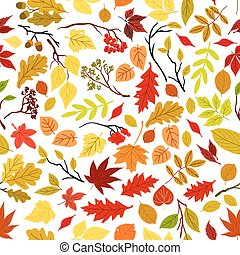 Autumn leaves seamless pattern background Vector leaf and...
