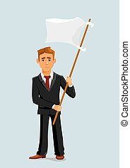 Businessman holds white flag of surrender. Capitulation and...
