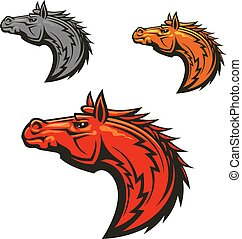 Horse stallion mascot heads set