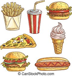 Fast food sketch icons set Isolated elements of burger,...
