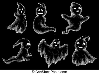 Halloween funny ghosts and spooks cartoon - Halloween chalk...