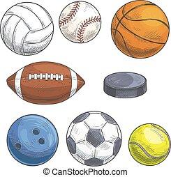 Sport balls set. Hand drawn color pencil sketch icons.