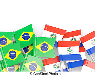 Flags of Brazil and Paraguay isolated on white 3D...