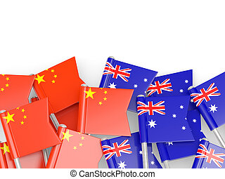 Flags of China and Australia isolated on white. 3D...