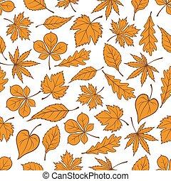 Falling yellow leaves seamless pattern background - Yellow...