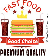 Fast food cheeseburger and soda coke icon - Fast food label...