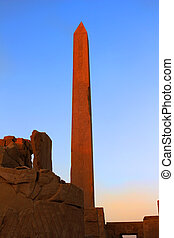 obelisk, hos, Karnak, tempel, egypten