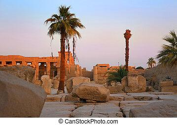 fördärvar, hos, Karnak, tempel, egypten