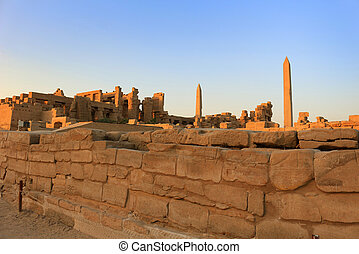 Obelisks, hos, Karnak, tempel, egypten