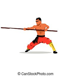 Shaolin monk with his staff. Vector Cartoon Illustration. -...