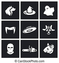 Vector Set of Fear Icons. Werewolf, Witch, Ghost, Vampire,...