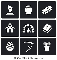 Vector Set of Funeral Icons. Burial, Cremation, Coffin,...