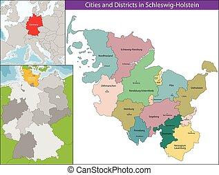 Map of Schleswig-Holstein - Schleswig-Holstein is the...