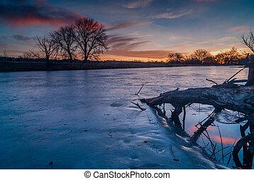 Sunrise on a Pond - Frozen pond in Denver, Colorado