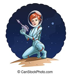 Space girl - Illustration of a girl in a spacesuit with a...