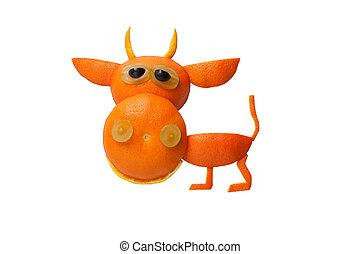 divertido, toro, hecho, de, naranja, en, aislado, Plano de...