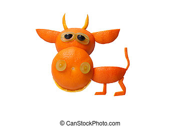 divertido, hecho, aislado, Plano de fondo, toro, naranja