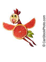 divertido, vuelo, pollo, hecho, de, toronja, en, blanco,...