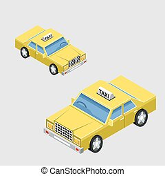 Isometric taxi car in two projections. Vector